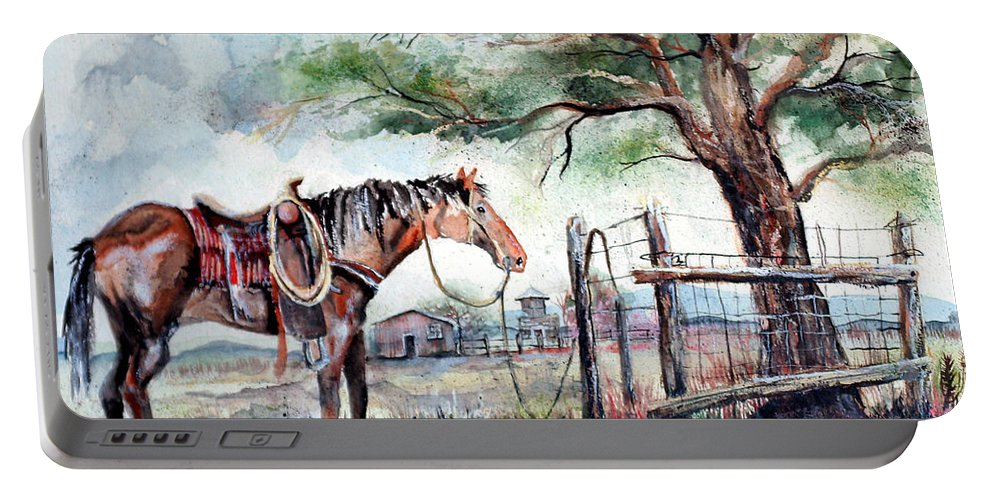 Horse Portable Battery Charger featuring the painting Ready by Linda Shackelford