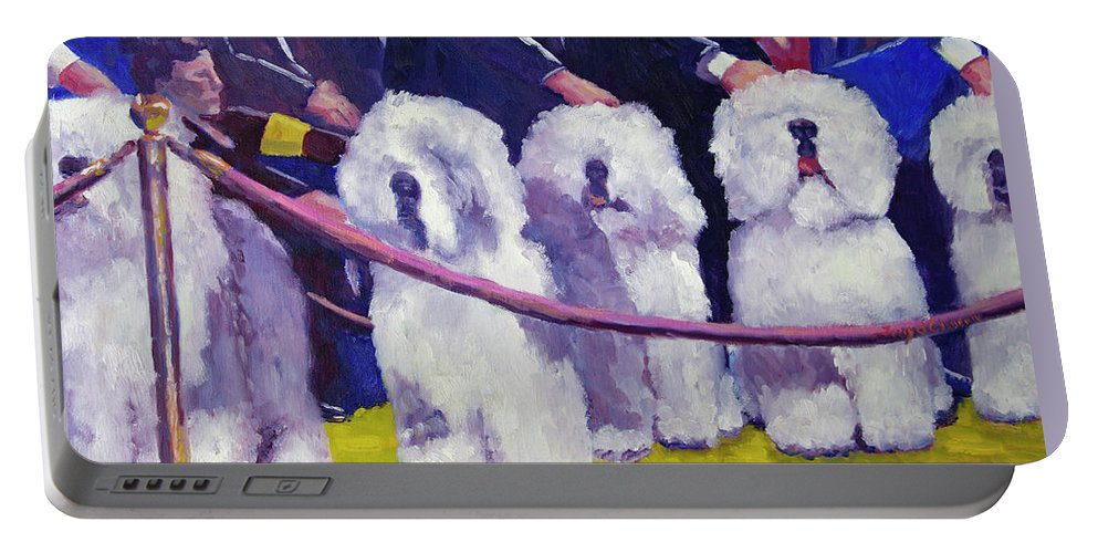 Dogs Portable Battery Charger featuring the painting Ready Ring by Terry Chacon