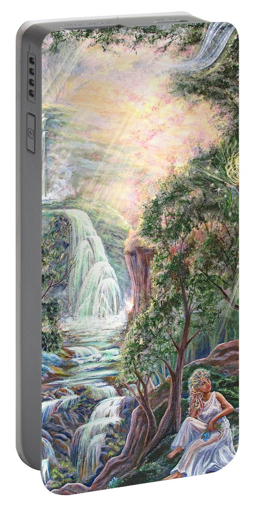 Spiritual Portable Battery Charger featuring the painting Ready To Fly by Joyce Jackson