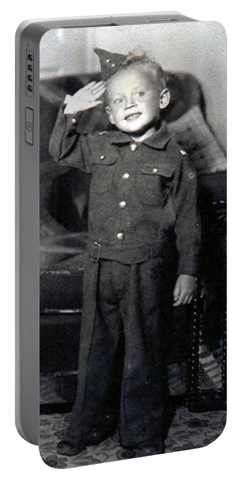 Old Photo Black And White Classic Saskatchewan Pioneers History Child Boy Army Service Portable Battery Charger featuring the photograph Ready To Serve by Andrea Lawrence
