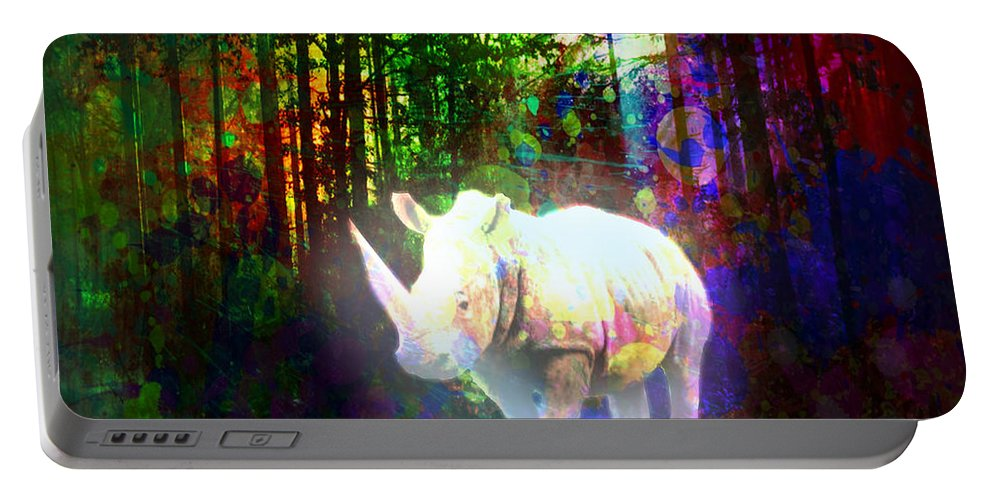 Rhino Portable Battery Charger featuring the digital art Real Unicorn by Rene Lopez