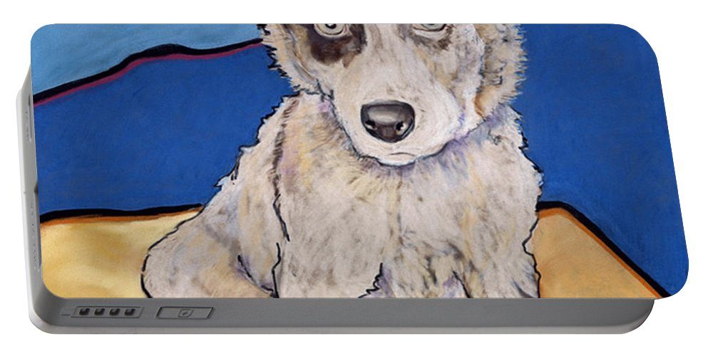 Merle Aussie Portable Battery Charger featuring the painting Reba Rae by Pat Saunders-White
