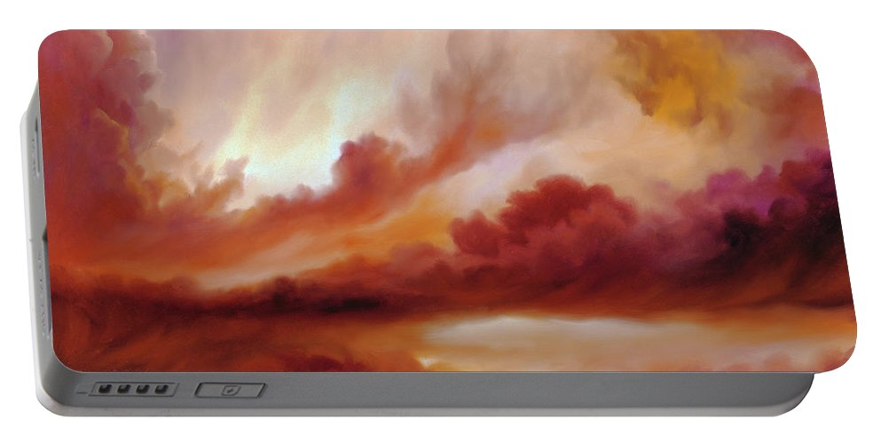 Skyscape Portable Battery Charger featuring the painting Receding Storm Sketch IIi by James Christopher Hill