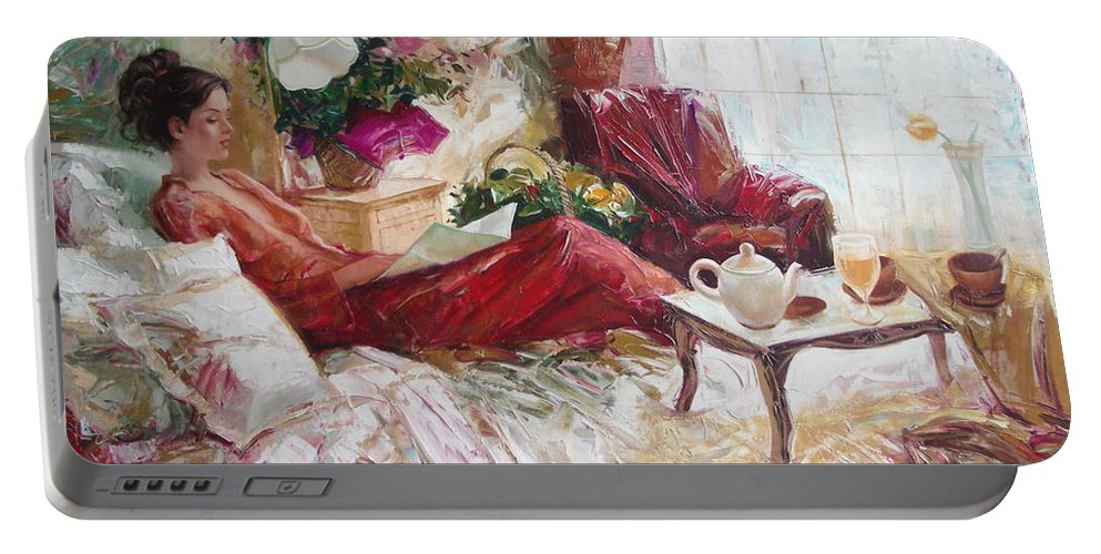 Art Portable Battery Charger featuring the painting Recent News by Sergey Ignatenko