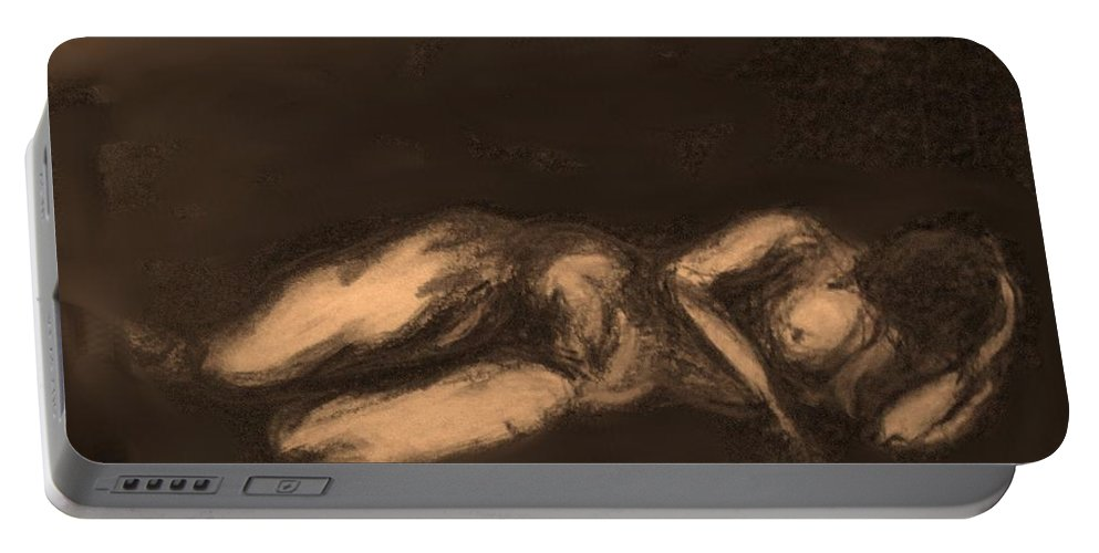 Nude Portable Battery Charger featuring the drawing Reclining by Ian MacDonald