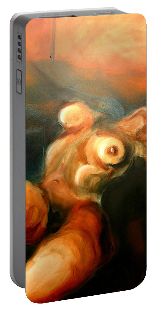 Drawing Portable Battery Charger featuring the painting Reclining Nude by Gideon Cohn
