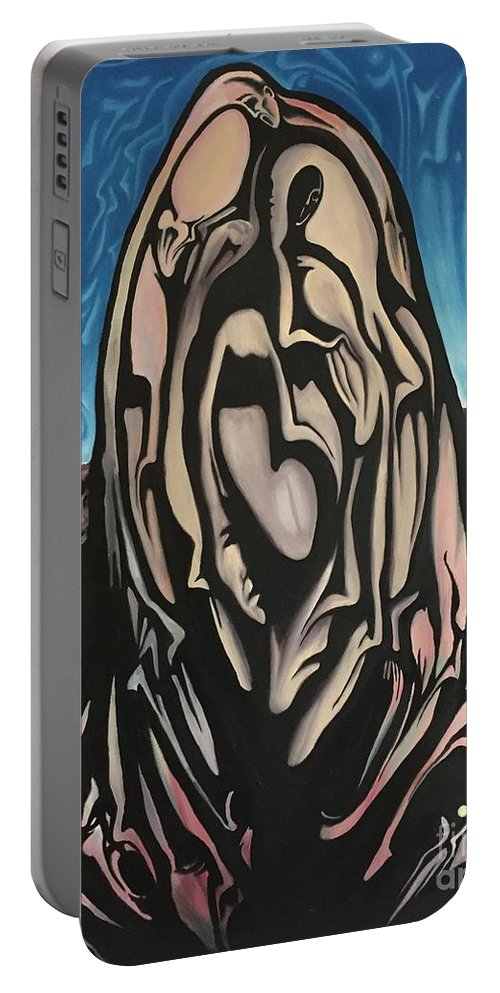 Tmad Portable Battery Charger featuring the painting Recluse by Michael TMAD Finney