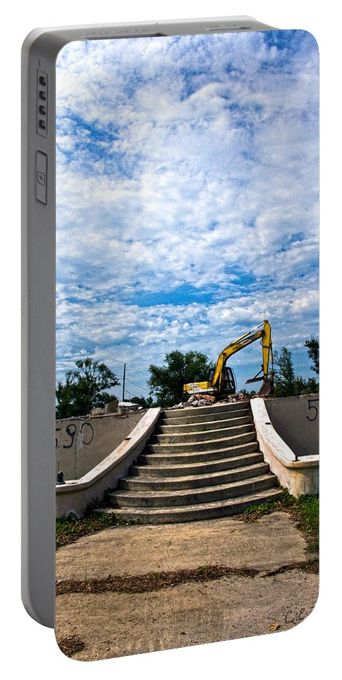 Stairs Portable Battery Charger featuring the photograph Reconstruction by Christopher Holmes