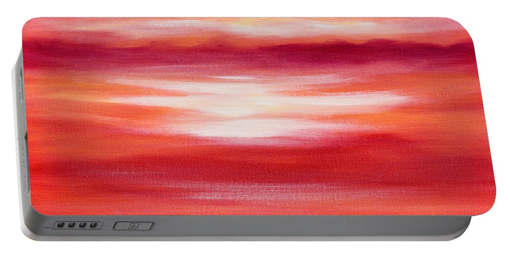 Art Portable Battery Charger featuring the painting Red Abstract Sunset by Gina De Gorna