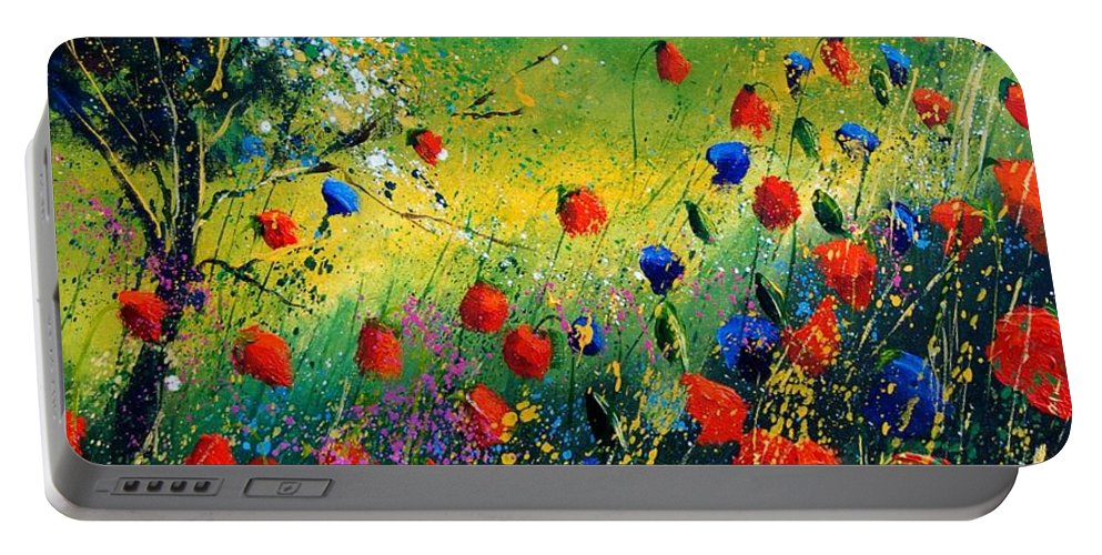 Flowers Portable Battery Charger featuring the painting Red And Blue Poppies by Pol Ledent