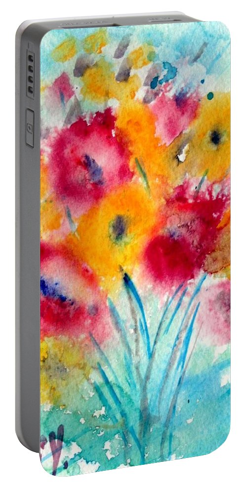 Flowers Portable Battery Charger featuring the painting Red And Yellow Flowers by Luiza Vizoli