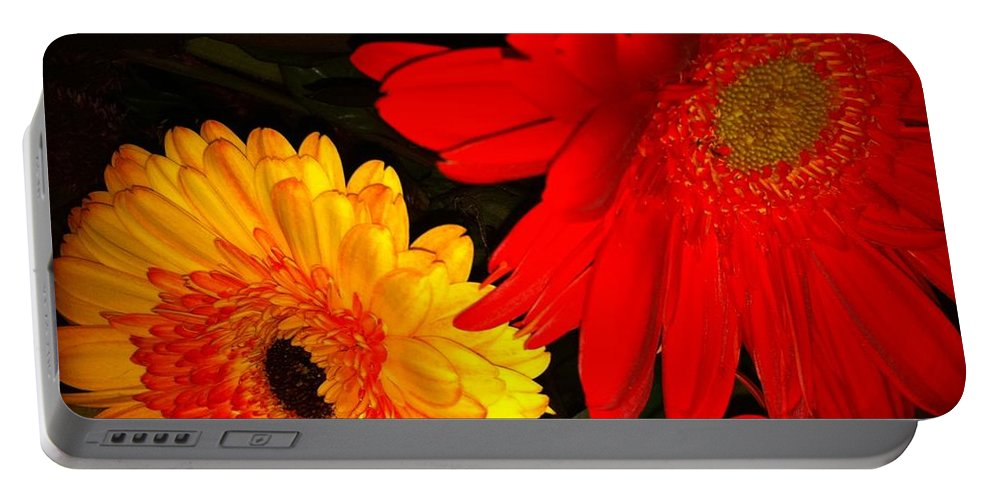 Flowers Portable Battery Charger featuring the photograph Red And Yellow by Kimberly Mohlenhoff