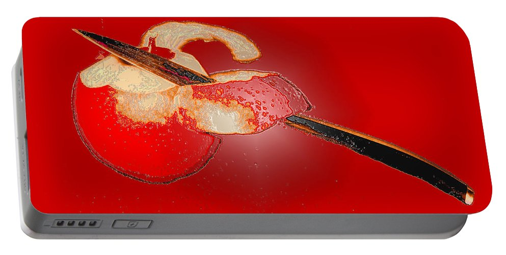 Apple Portable Battery Charger featuring the digital art Red Apple by Ian MacDonald