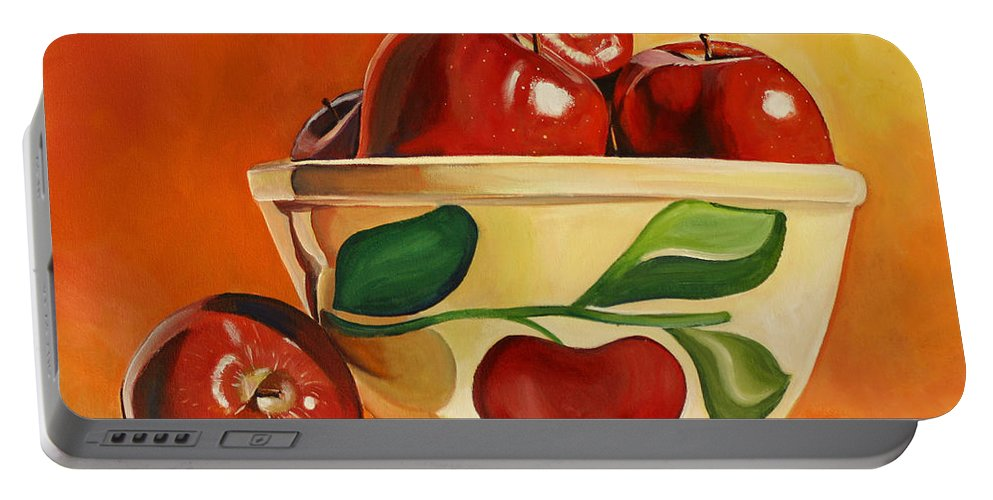 Apples Portable Battery Charger featuring the painting Red Apples In Vintage Watt Yellowware Bowl by Toni Grote