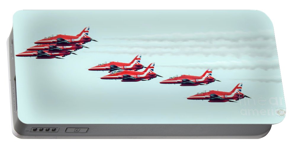 North East Portable Battery Charger featuring the photograph Red Arrows by Andy Blakey
