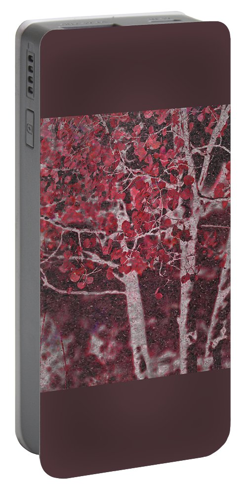 Red Portable Battery Charger featuring the photograph Red Aspen by Jim And Emily Bush