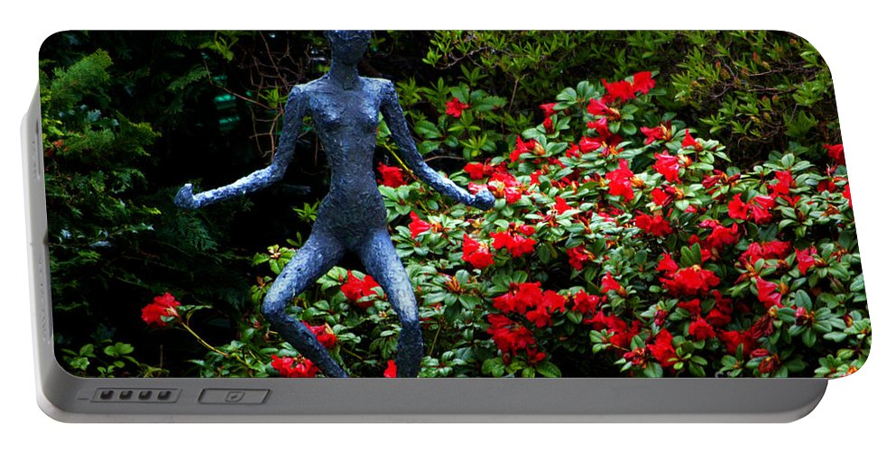 Red Azalea Lady Portable Battery Charger featuring the photograph Red Azalea Lady by Susanne Van Hulst