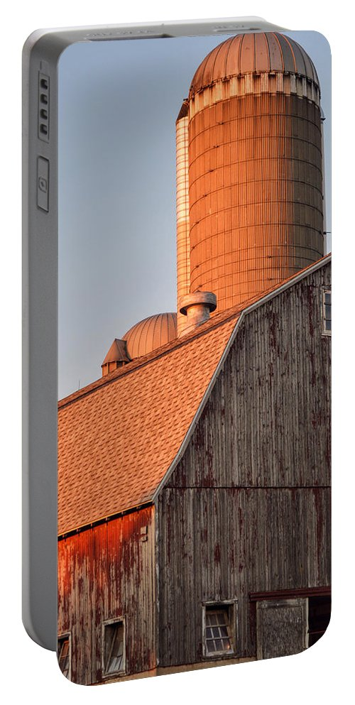 Red Barn Portable Battery Charger featuring the photograph Red Barn At Sunset by Sharmila Taylor