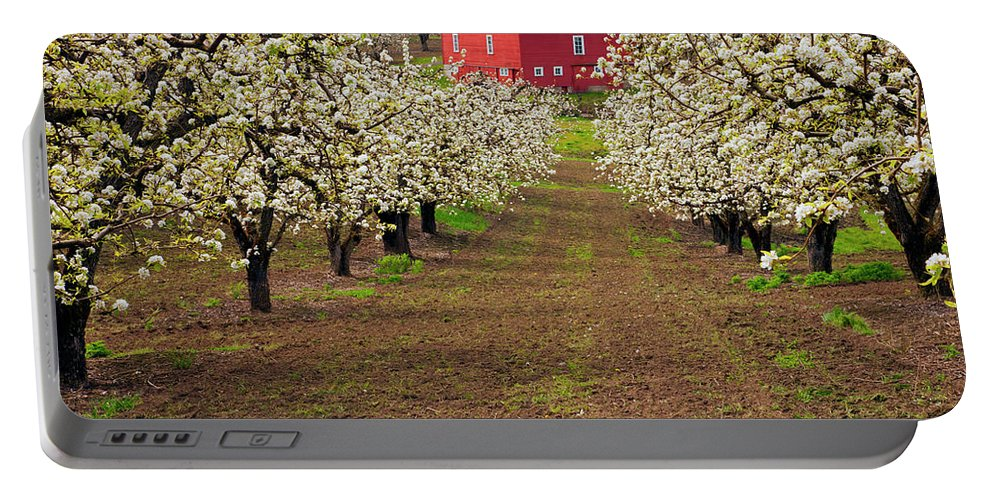 Barn Portable Battery Charger featuring the photograph Red Barn Avenue by Mike Dawson