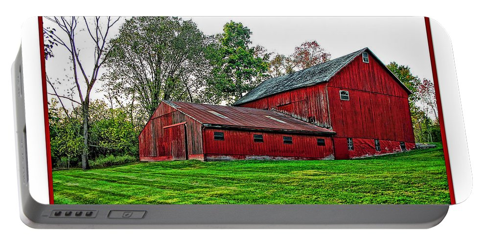 Autumn Portable Battery Charger featuring the photograph Red Barn In Ohio by Joan Minchak