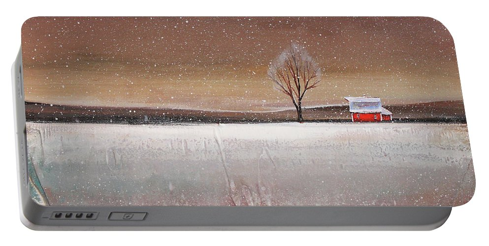 Farm Portable Battery Charger featuring the painting Red Barn In Snow by Toni Grote