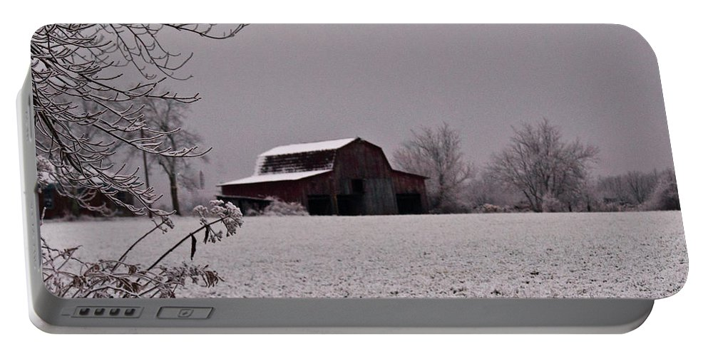 Cumberland Portable Battery Charger featuring the photograph Red Barn Under Snow by Douglas Barnett