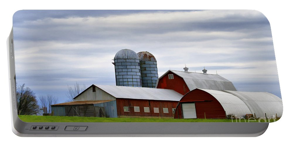 Rural Portable Battery Charger featuring the photograph Red Barns Of 3 by Deborah Benoit