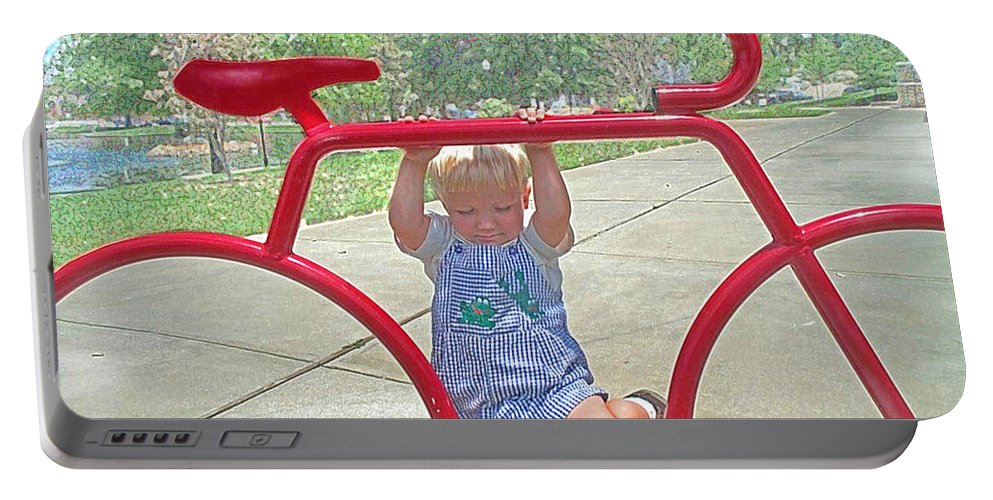 Bicycle Portable Battery Charger featuring the painting Red Bicycle by Jane Schnetlage