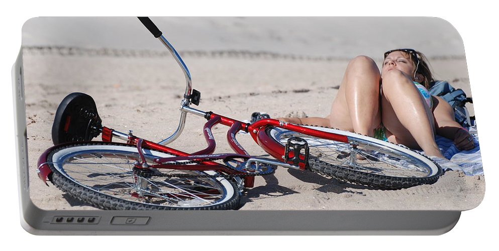 Red Portable Battery Charger featuring the photograph Red Bike On The Beach by Rob Hans
