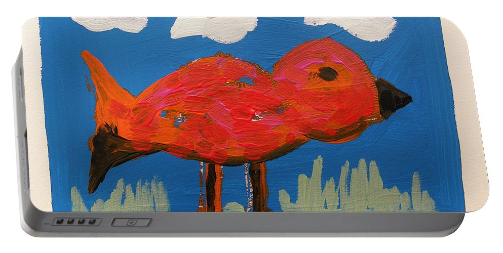 Acrylic Portable Battery Charger featuring the painting Red Bird In Grass by John Williams