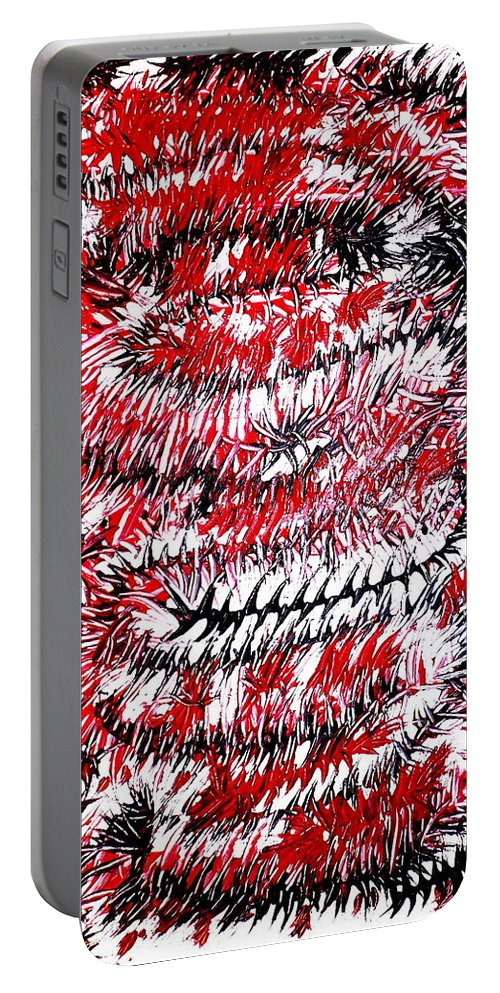 Art Portable Battery Charger featuring the painting Red by Birgitta