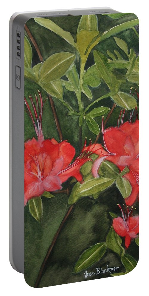 Flowers Portable Battery Charger featuring the painting Red Blooms On The Parkway by Jean Blackmer