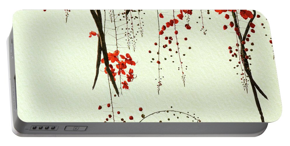 Flower Portable Battery Charger featuring the digital art Red Blossom Tree On Handmade Paper by Lucy Baldwin