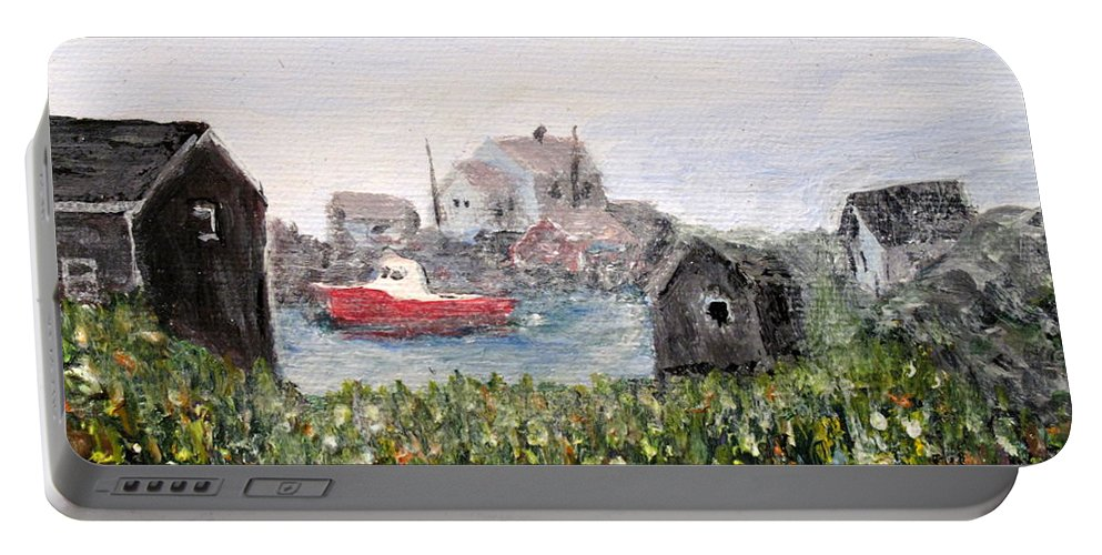 Red Boat Portable Battery Charger featuring the painting Red Boat In Peggys Cove Nova Scotia by Ian MacDonald