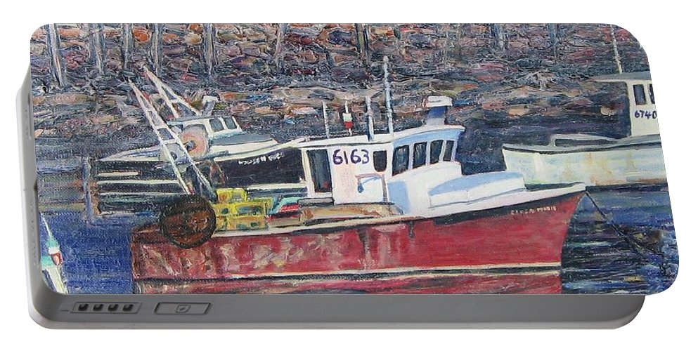 Boat Portable Battery Charger featuring the painting Red Boat Reflections by Richard Nowak