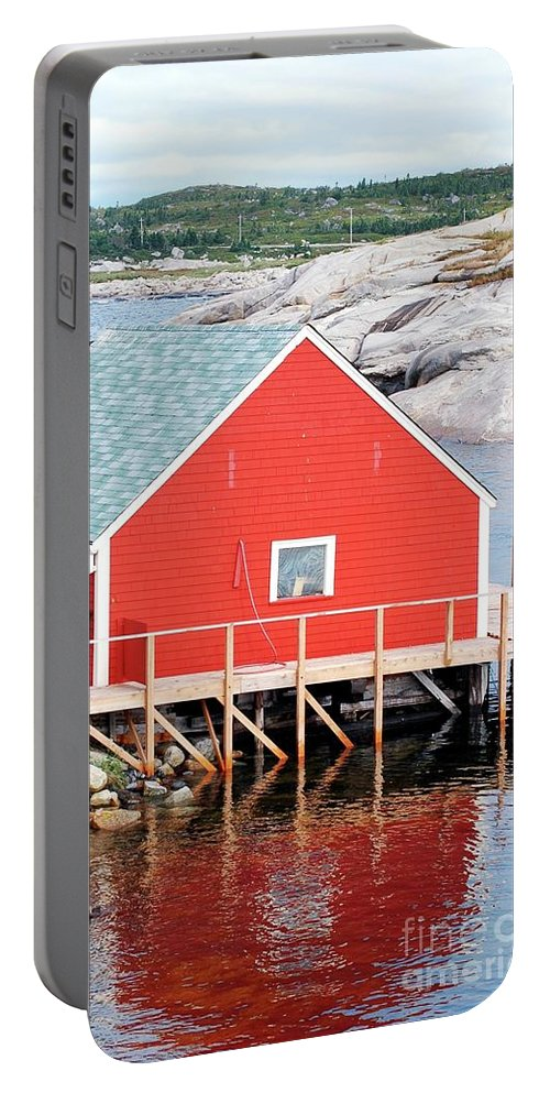 Red Portable Battery Charger featuring the photograph Red Boathouse by Kathleen Struckle