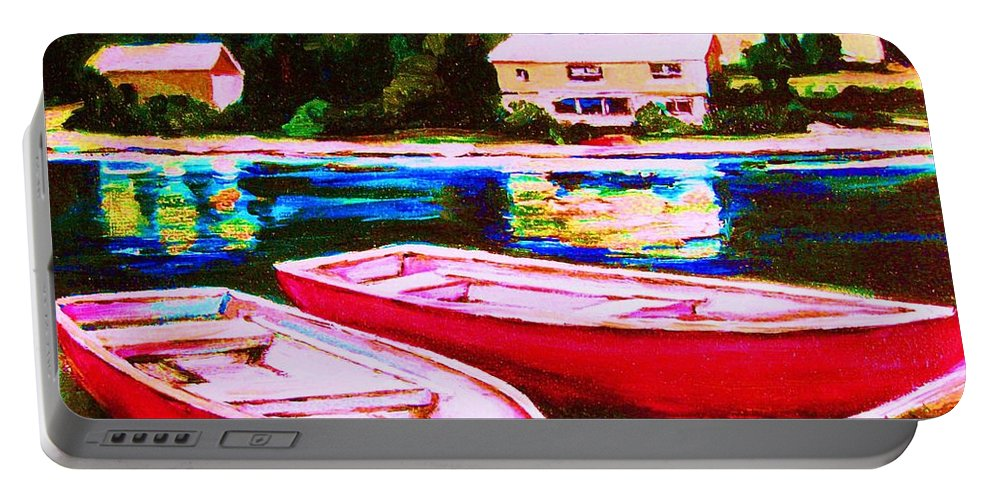 Red Boats Portable Battery Charger featuring the painting Red Boats At The Lake by Carole Spandau