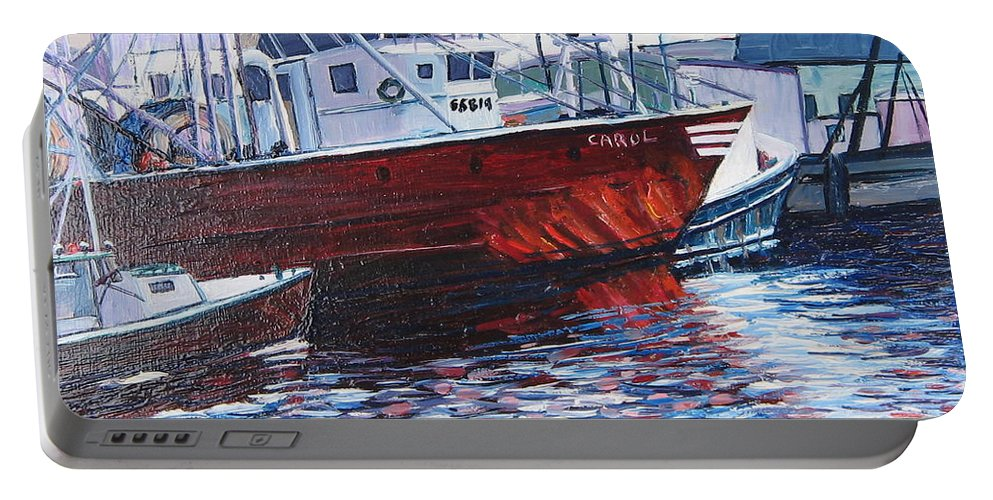 Boats Portable Battery Charger featuring the painting Red Boats by Richard Nowak