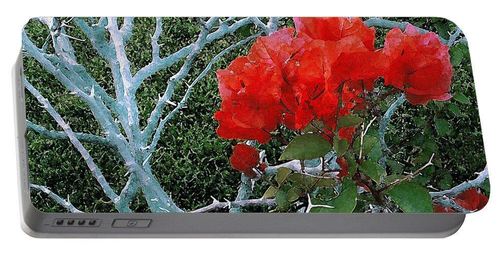 James Temple Portable Battery Charger featuring the photograph Red Bougainvillea Thorns by James Temple