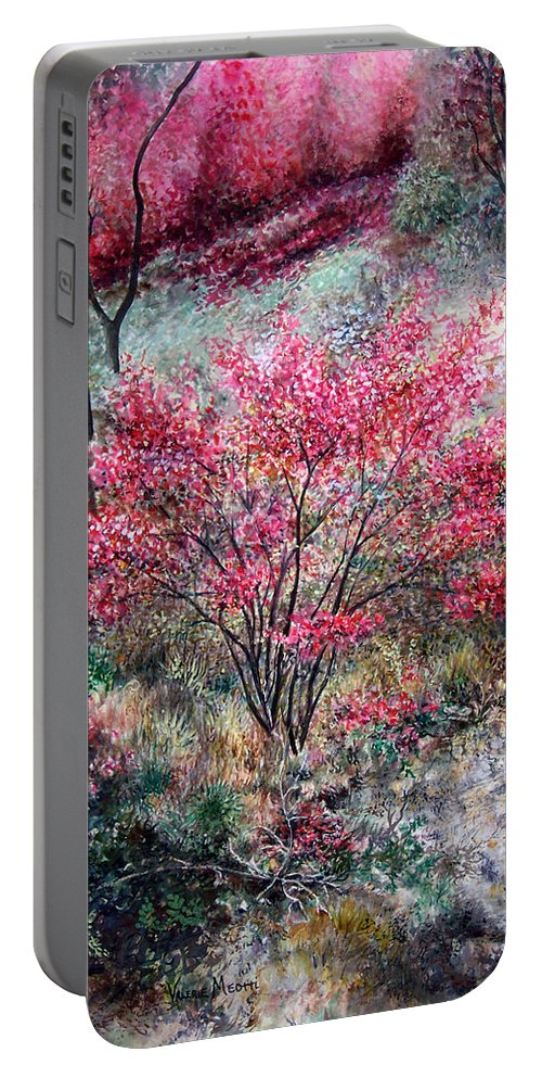 Landscape Portable Battery Charger featuring the painting Red Bush by Valerie Meotti