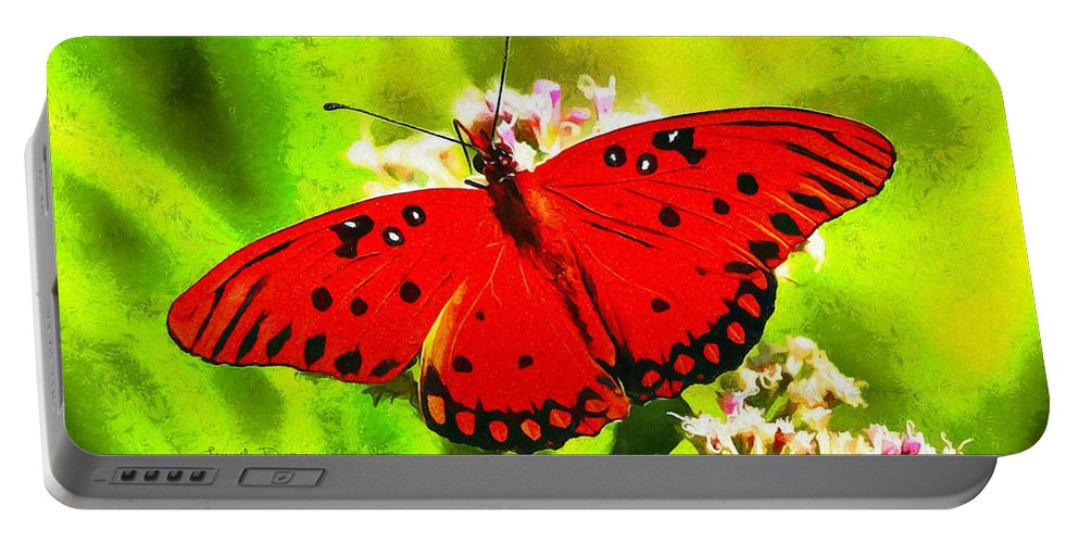 Antenna Portable Battery Charger featuring the painting Red Butterfly by Leonardo Digenio