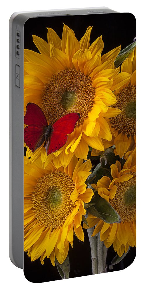 Four Portable Battery Charger featuring the photograph Red Butterfly With Four Sunflowers by Garry Gay