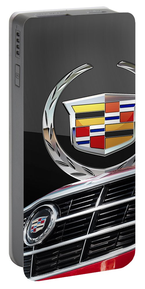 'auto Badges' By Serge Averbukh Portable Battery Charger featuring the photograph Red Cadillac C T S - Front Grill Ornament and 3D Badge on Black by Serge Averbukh