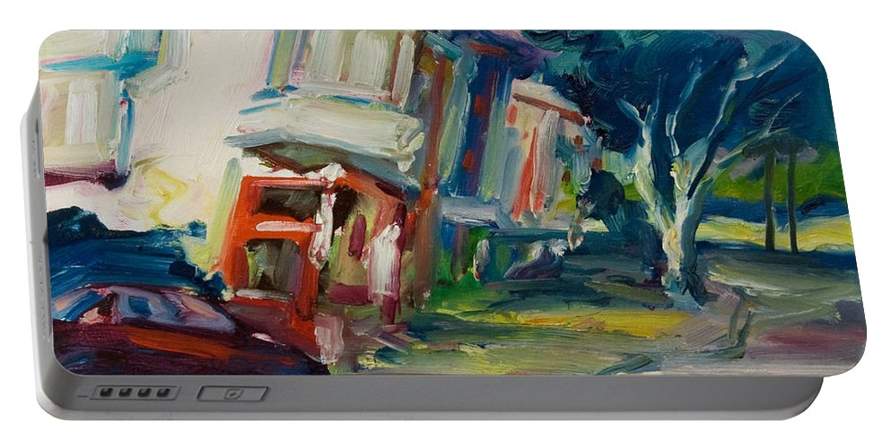 Trees Portable Battery Charger featuring the painting Red cafe by Rick Nederlof
