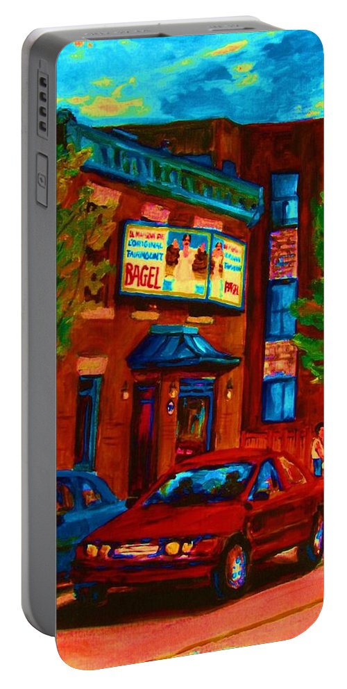 Fairmount Bagel Portable Battery Charger featuring the painting Red Car Blue Sky by Carole Spandau