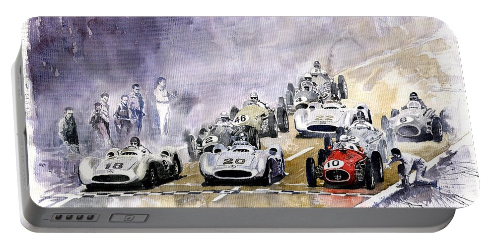 Watercolour Portable Battery Charger featuring the painting 1954 Red Car Maserati 250 France Gp by Yuriy Shevchuk