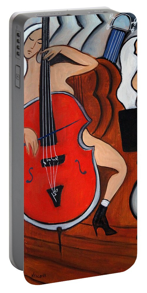 Cubic Abstract Portable Battery Charger featuring the painting Red Cello 2 by Valerie Vescovi
