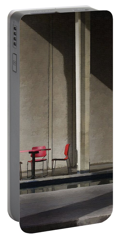 Architecture Portable Battery Charger featuring the photograph Red Chairs by Sharon Foster