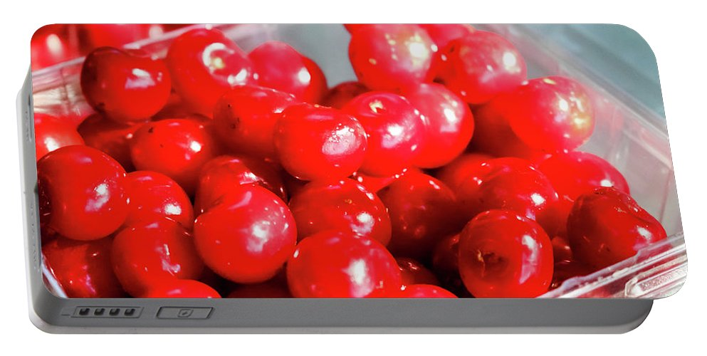 Red Cherries Portable Battery Charger featuring the photograph Red Cherries by Cynthia Woods