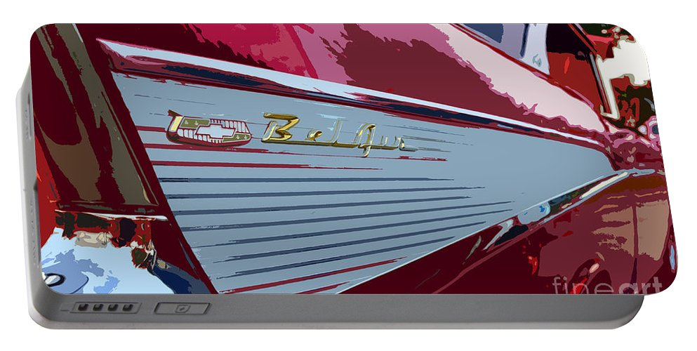 Chevy Portable Battery Charger featuring the painting Red Chevy by David Lee Thompson